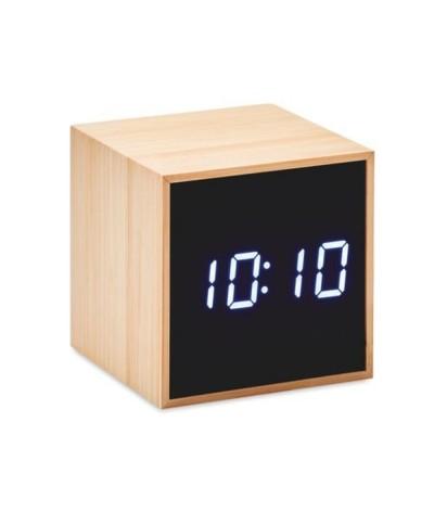 Réveil cube avec boîtier en bambou