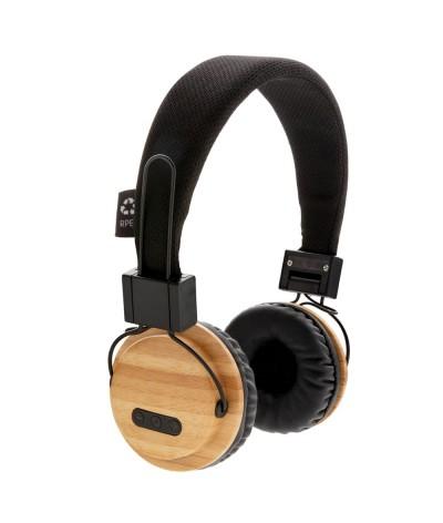 Casque audio sans fil en bambou et rpet