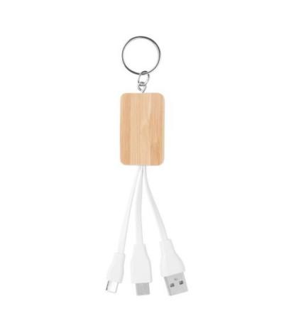 Porte-clés câble 3 en 1 en bambou
