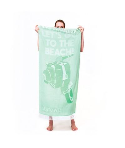 Serviette plage coton recyclé certifiée seaqual