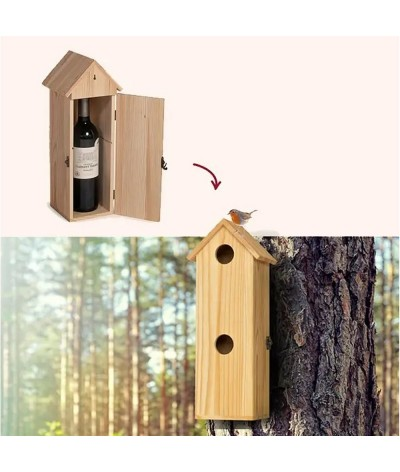Coffret bouteille transformable en nichoir à oiseaux